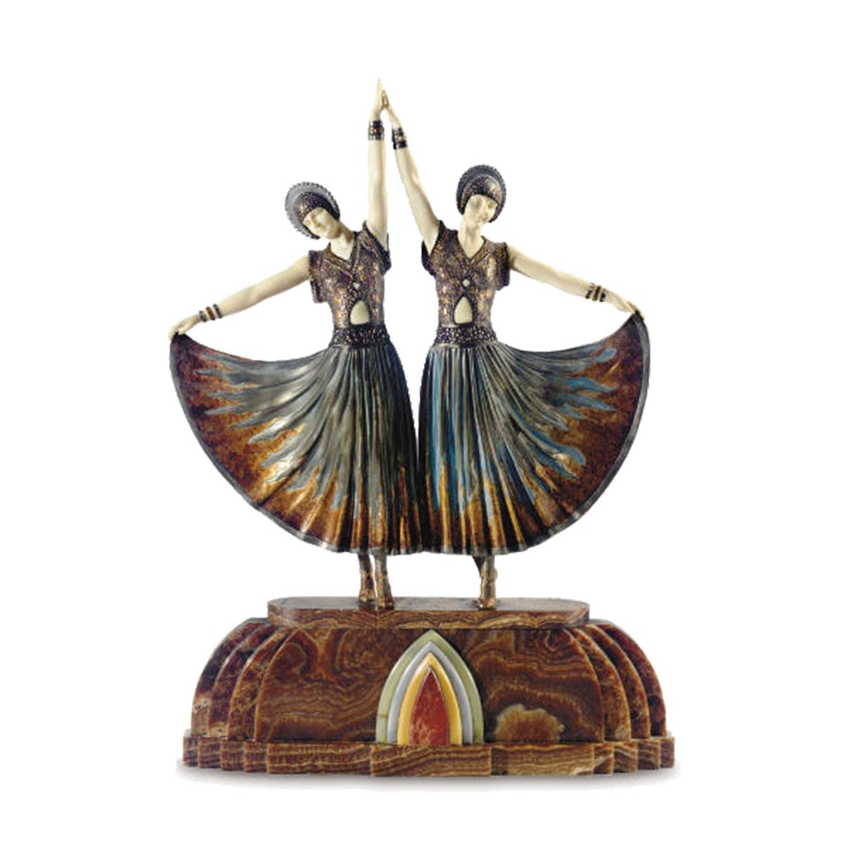 Chiparus chryséléphantine bronze et ivoire art déco, scuplture art deco, bronze, ivoire et onyx, statuette danseuses,.
