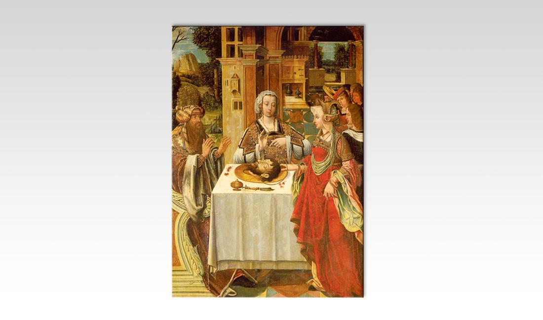 Ecole allemande huile sur panneau du XVIème siècle. Salomé apportant la tête de Saint-Jean-Baptiste à Hérode Antipas. Je recherche et j'achète les tableaux de maîtres et de petits maîtres anciens. Du 15ème au début du XIXème siècle.
