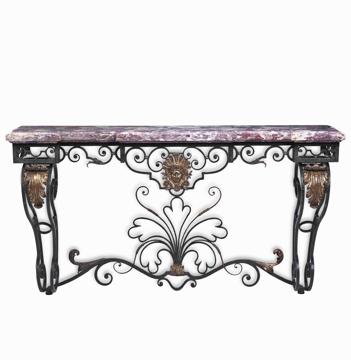 meuble ancien fer forgé, console fer forgé dessus marbre.