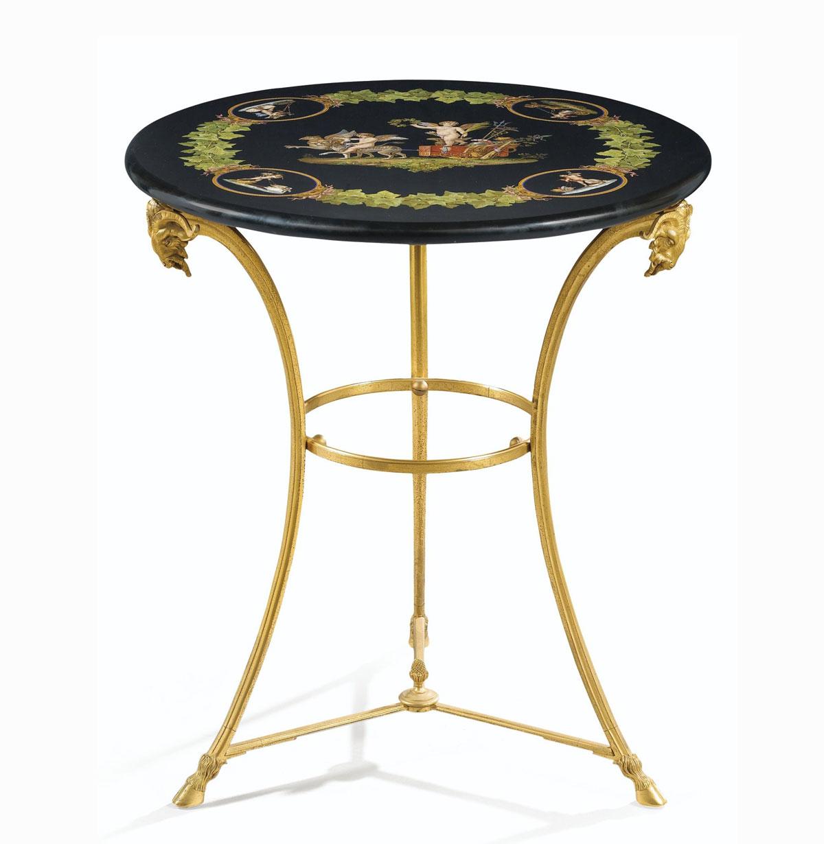 Meuble ancien, décoration, guéridon ancien bronze doré et marqueterie de marbre, prix achat vente, expertise,