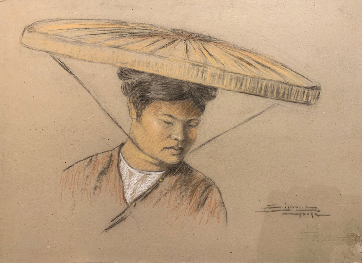 Chinese character in straw hat.