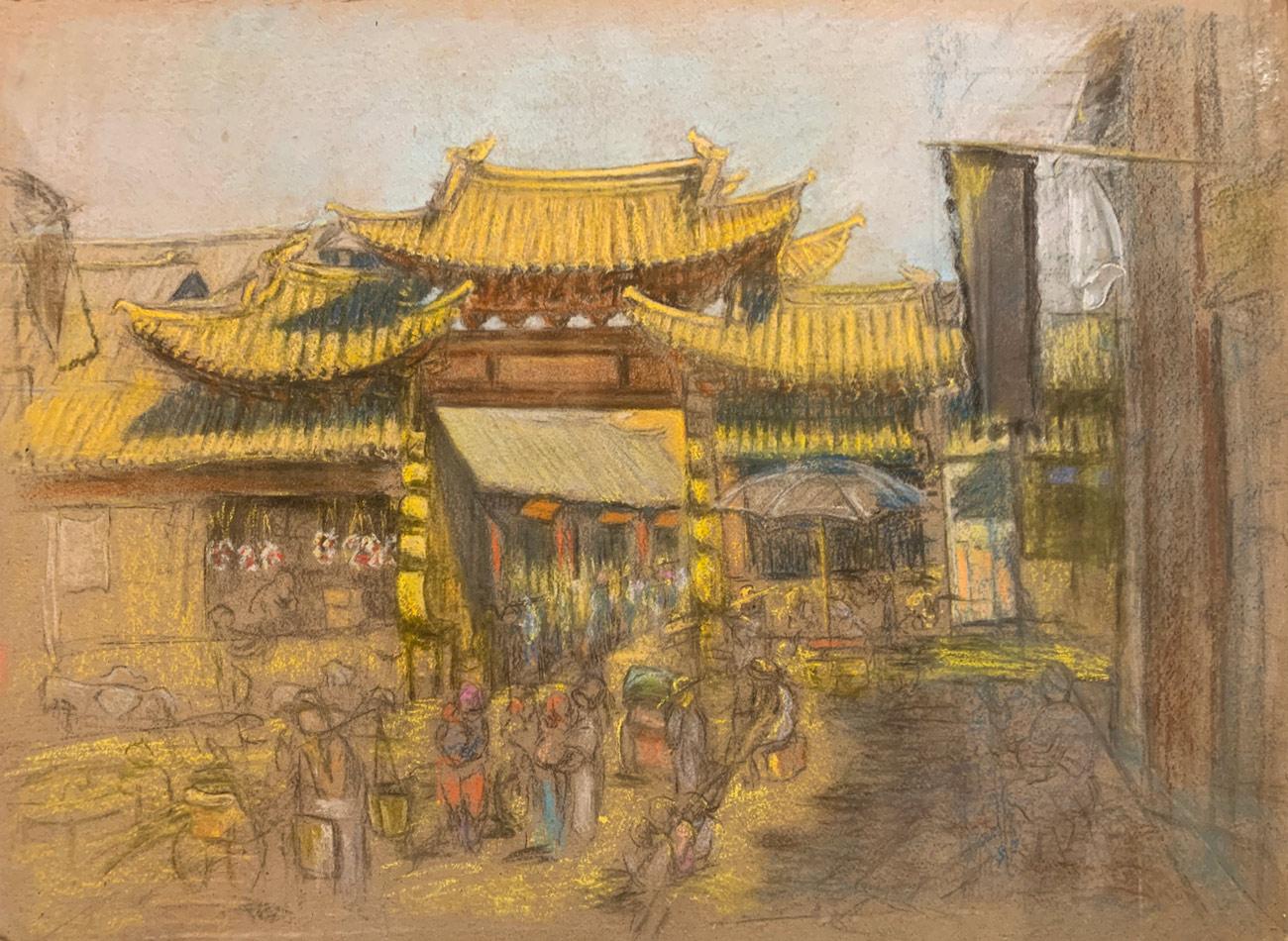 paysage chinois, ville chinoise, peinture de ville chinoise